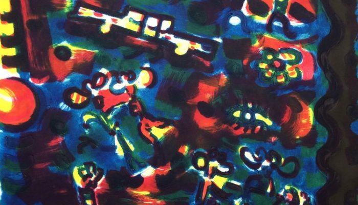 Michael Cullen, Las Vegas Nocturne Carborundum, sheet and image, aprox 85 x 105cm